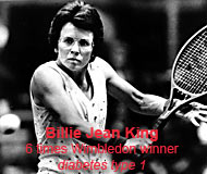 Billie Jean King tennis star